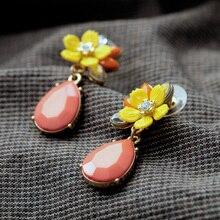 KISS ME Jewelry 2017 Graceful Pink Water Drop Yellow Resin Flower Earrings for Women Fashion Drop Earrings Accessories