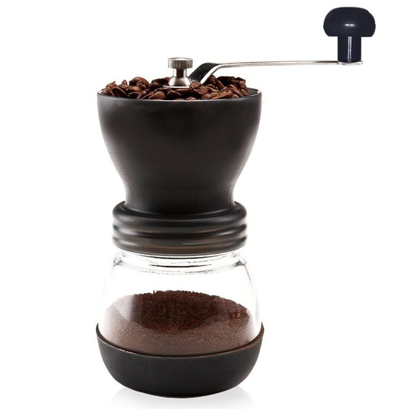 Manual Coffee Grinder with Storage Jar Soft brush Conical Ceramic Burr Quiet and Portable Kitchen Tools