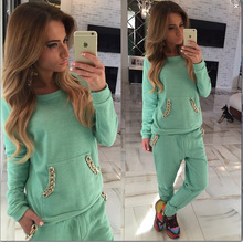 New Candy Color O-neck Long-sleeve Women's Sets Sport Suit Plus Size Tracksuit Sweatshirt And Pant 2 Pieces running Sets
