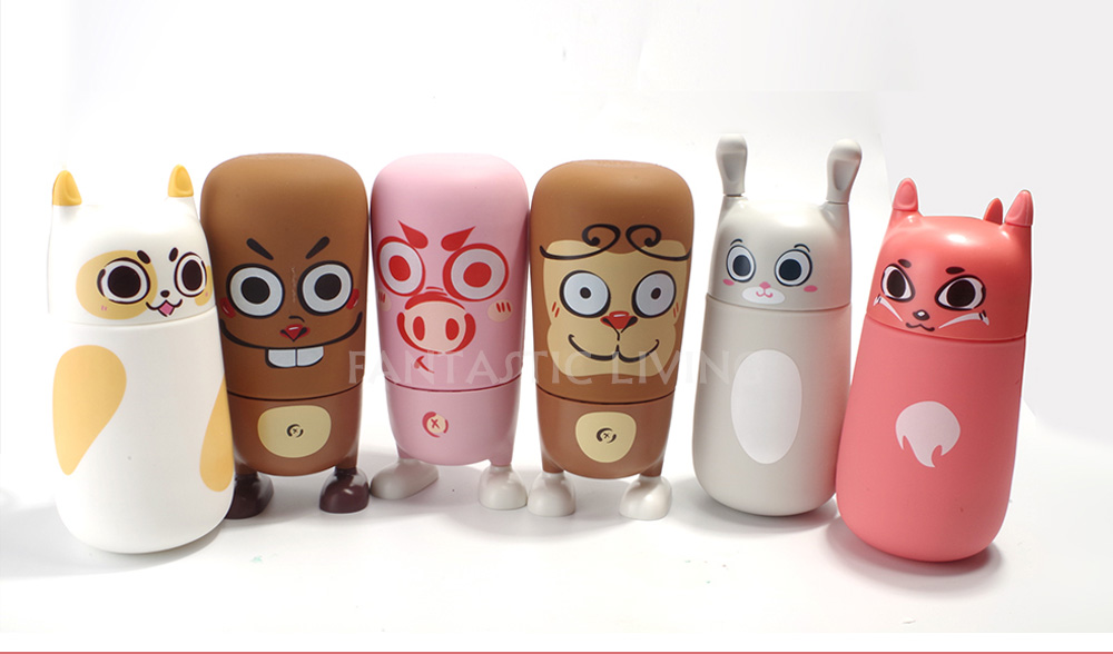 Newest Cute Cartoon Money Rabbit Cat 310ml Kids Water Bottle High Quality Unleaded Healthy Glass Bottle