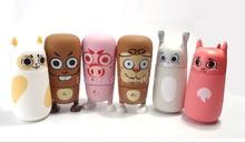 Neueste Nette Karikatur Geld/Kaninchen/Katze 310 ml Kinder Wasserflasche Qualität Bleifreies Gesunde Glasflasche mit silikon Decor