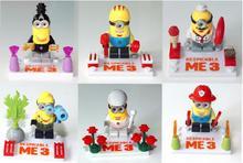 6pcs Minion Minifigure Despicable Me 3 Dave Stuart Chef Soldier Building Toy Action Figure SL8919 SL 8919 Compatible with Ligo