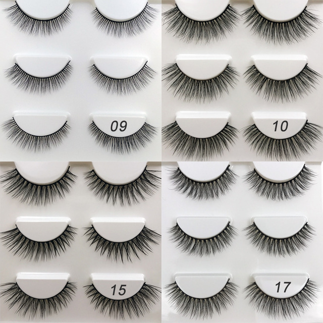 new 3 pairs mink eyelashes natural false eyelashes 3D mink lashes makeup soft fake eyelash extension hand made eye lashes #X09 3