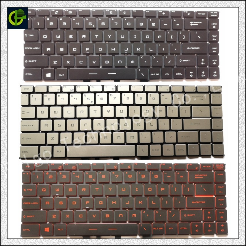 English Backlit keyboard for MSI GF63 MSI GS65 8RC 8RD 8RE Stealth 8RF THIN GS65VR MS