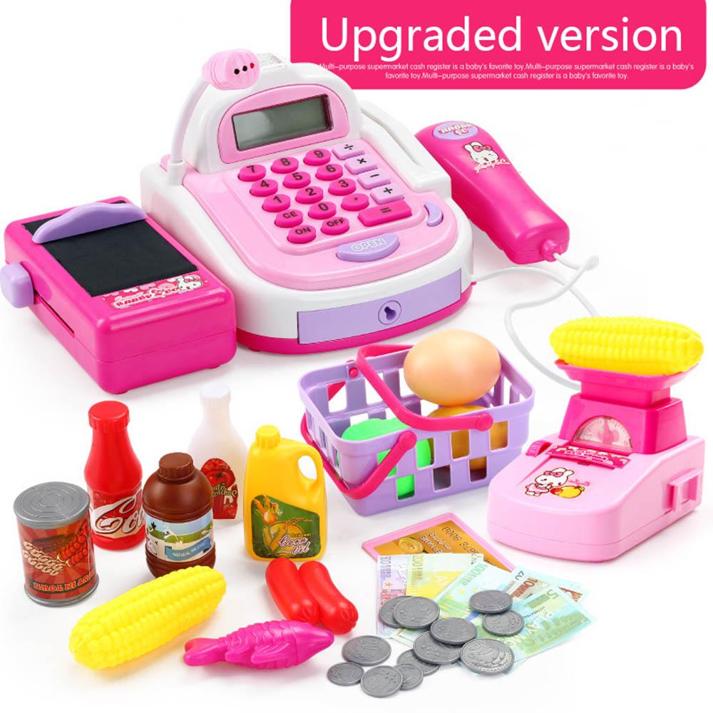 Kids Supermarket Cash Register Electronic Toys with Foods Basket Money Children Learning Education Pretend Play Set  Lahore