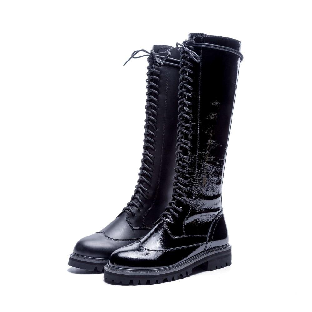 Streetwear Med Nouvelle Bout Cow Cuir black Moto Bottes 2018 Arrivée Noir Hauteur Rond Genou Talons Fleur Pleine Leather Discothèque Couleur En L13 À Suede Du PpOpvqxF