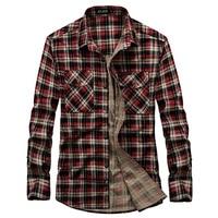 AFS JEEP Men Plaid Cotton Casual Shirt Men Brand Clothing Long Sleeve Office Work Plaid Shirt