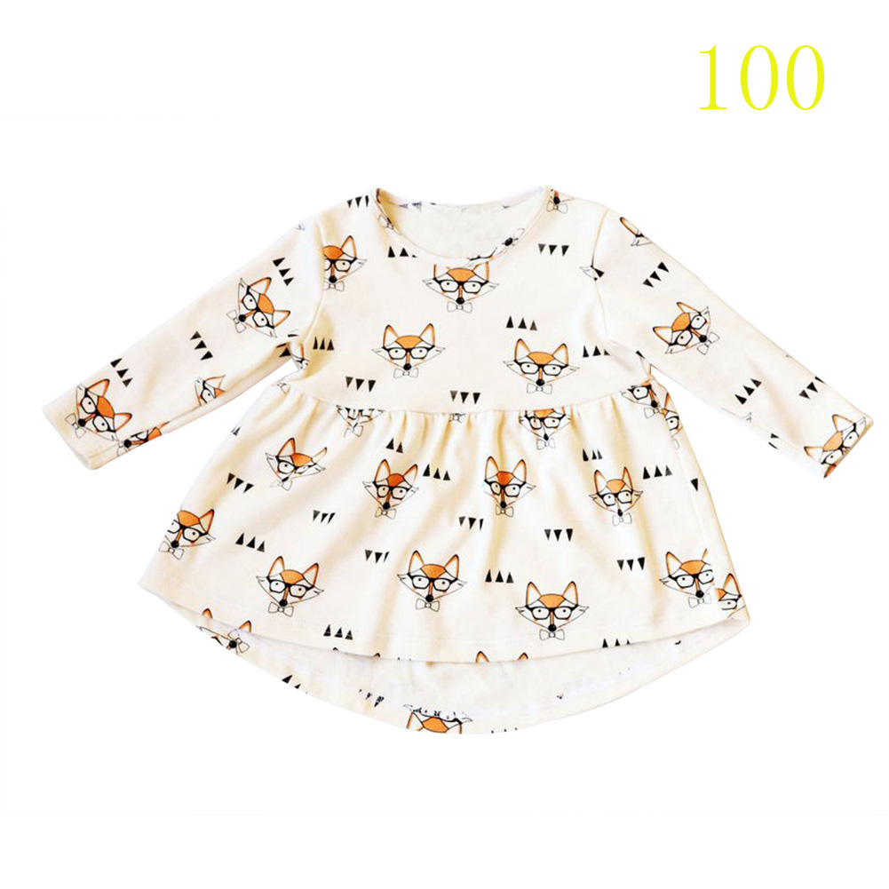 Girls Dress Fox Print Dress Baby Clothes Casual Style Cotton Long Sleeve Cartoon Cute Dress 88