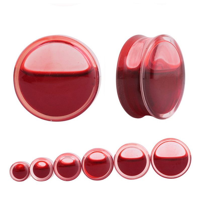 Pair Red Liquid Blood Acrylic Double Flared Saddle Ear Gauges Ear Plug Earrings Gauges Body Piercing Plug Ears Stretcher