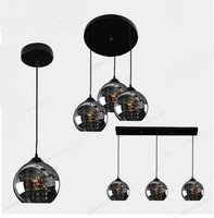 3 Heads Black Pendant Lights Sail Lang Restaurant Three Word Chassis Led Creative Stage Crystal Pendant