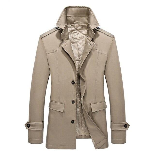 Autumn Winter Trench Coat Men Long Jackets Cloak Cotton Pad Fitness
