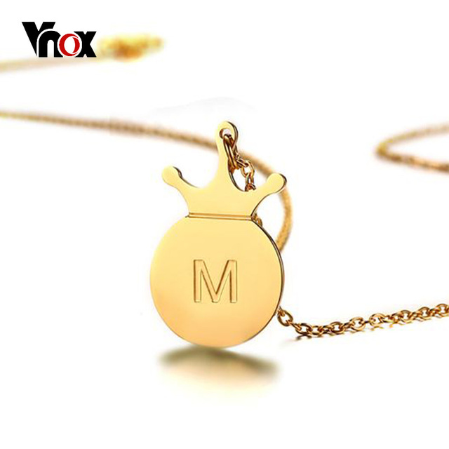 Vnox a z simple tiny initials necklace stainless steel crown disc vnox a z simple tiny initials necklace stainless steel crown disc letters womens personalized charms pendant letter aloadofball Image collections