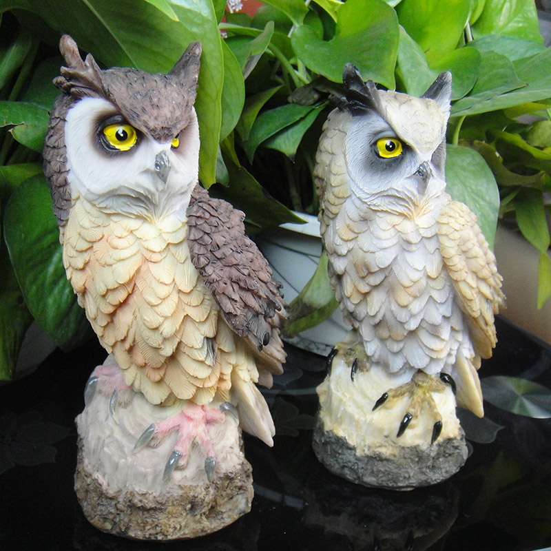 Hotuocho Big Owl Decoration Garden Home Decoration Ornaments Bird Artifact Resin Ornaments Home Decor Crafts Miniature Figurines