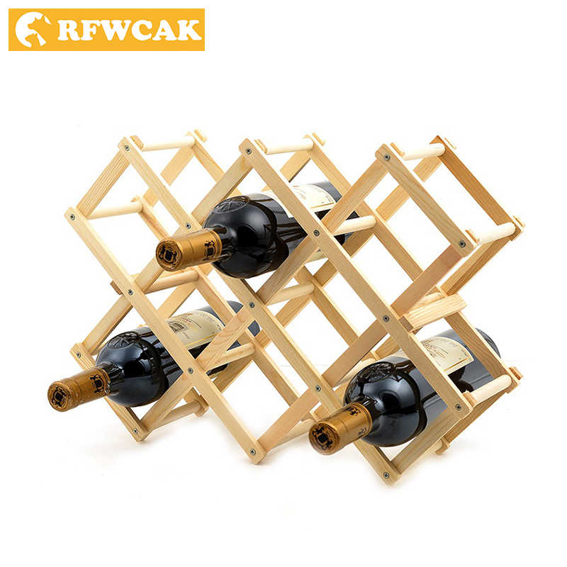 Dropshopping Massivholz Faltbare Kreative Rotwein Racks 750 ml 3/6/10 Bier Flasche Halter Küche Bar display Regal Handwerk