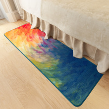 Modern personal oil painting impression kitchen long home bed hallway carpet floor mat anti-skid foot rug washable