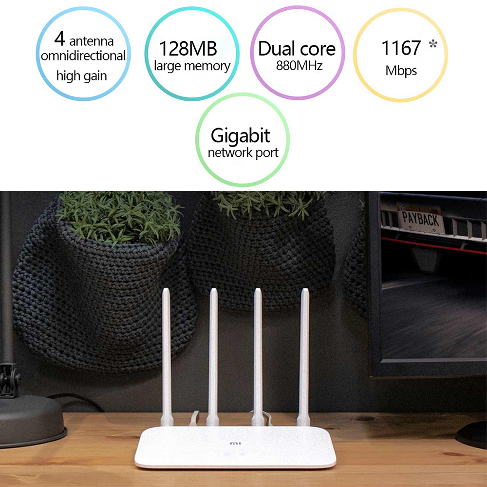 Xiaomi Mi Router 4A Gigabit Edition 100M 1000M 2.4GHz 5GHz WiFi ROM 16MB DDR3 64MB 128MB High Gain 4 Antennas Remote APP Control 2