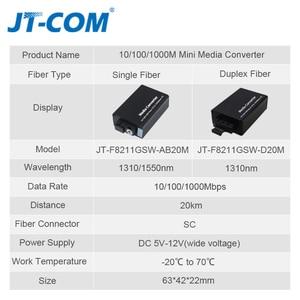 Image 3 - DC 5V 12V 20KM 1000M Mini Gigabit Media Konverter Glasfaser bis RJ45 Einzigen Modus ethernet Schalter Optische Transceiver SM SC FTTH