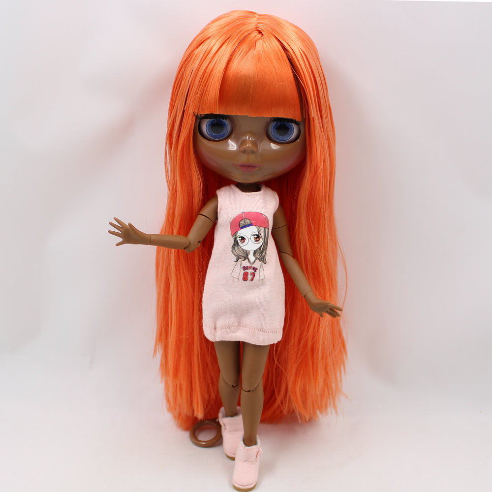 ICY Nude Blyth doll No 280BL0388 Orange hair JOINT body Super Black skin BJD Neo 30cm