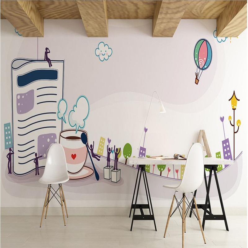 Custom 3D Wallpapers for Living Room Children Room 3D Wall Murals Cartoon Books Cup Backgrounds Wall Decor Wallpapers 3D Murals home decoration 3d bathroom wallpaper retro nostalgic wood love wallpapers for living room 3d wall murals page 9