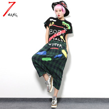 2017 summer spring women cute letter plaid print jumpsuit short sleeve loose casual novelty overalls