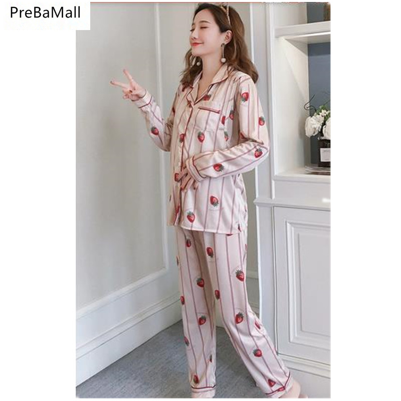 09e3e57cf686f Maternity Nursing Pajamas Sets 2019 Spring Long Sleeve Breastfeeding Clothes  For Pregnant Women Cotton Cardigan Sleepwear