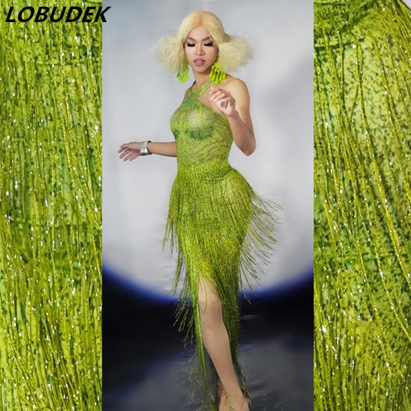 Grass Green Fringes Crystals Skinny Dress Sexy Women Slit To Thigh Long Dress Bar Party Nightclub
