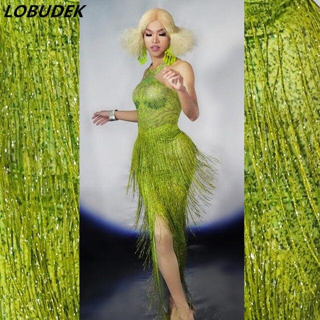 العشب الأخضر هامش بلورات نحيل فستان مثير المرأة شق إلى الفخذ فستان طويل بار حفلة ملهى ليلي أنثى المغني المرحلة زي