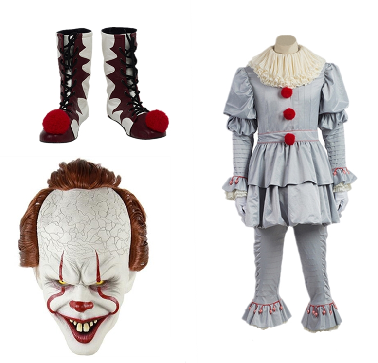 Hot 2019 Stephen King's It Pennywise Cosplay Costume Adult Unisex Women <font><b>Terror</b></font> Clown Halloween Costumes For Men Adult Mask image