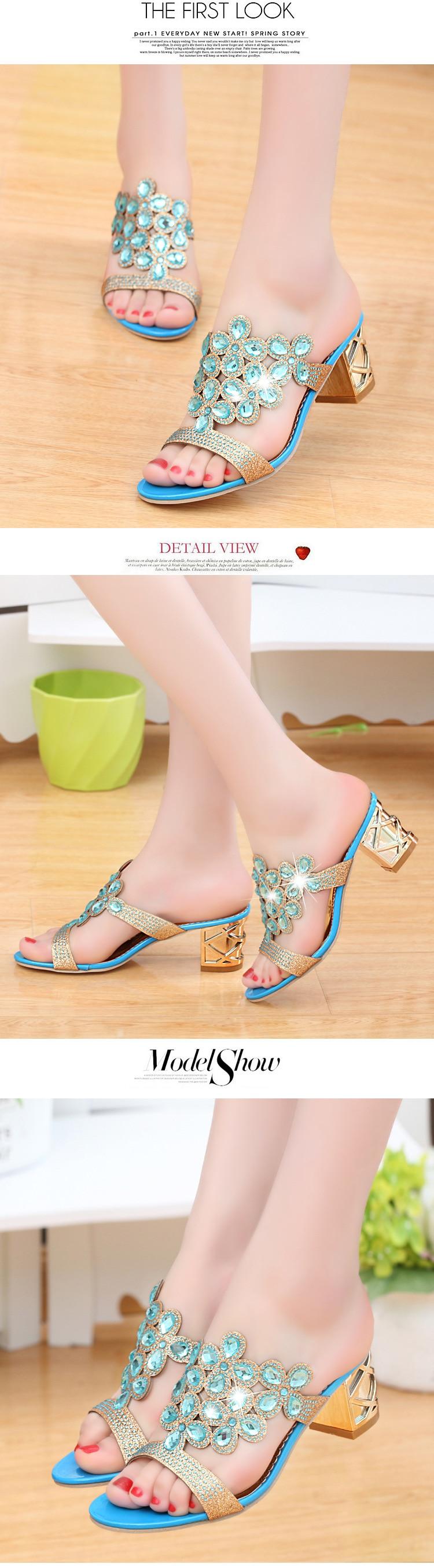 HTB1Z43GiStYBeNjSspkq6zU8VXaX Designer Sandals Women 2018 Ladies Slides Women Slippers Sandals Summer Crystal Shoes Peep Toe Middle Heels Zapatos Mujer
