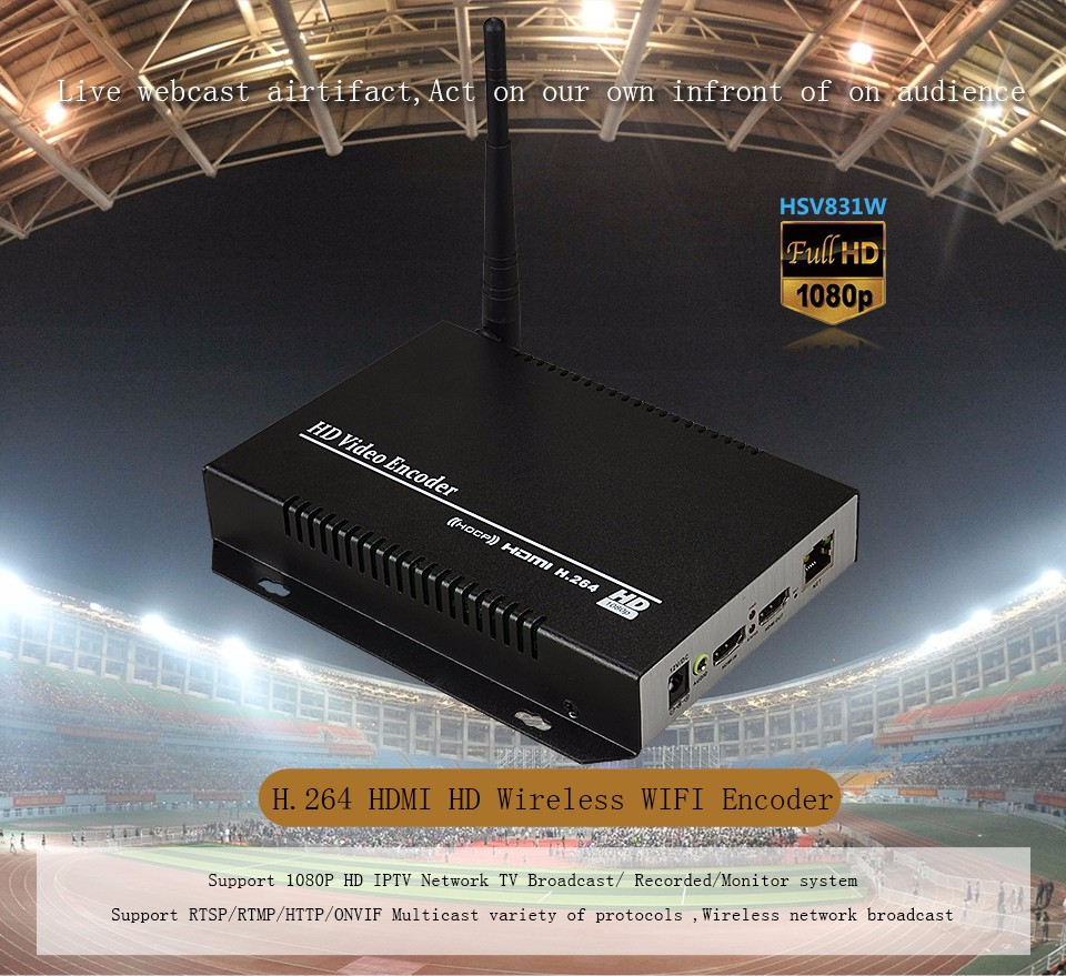 HSV831W H.264 HDMI Wireless Transmitter Support UDP, HTTP, RTSP, RTMP Protocol H.264 Wireless HDMI Encoder 1080P Support WEB