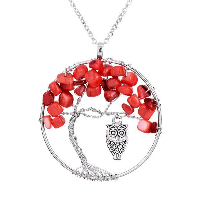 Online shop sedmart vintage owl tree of life red coral pendant image aloadofball Images