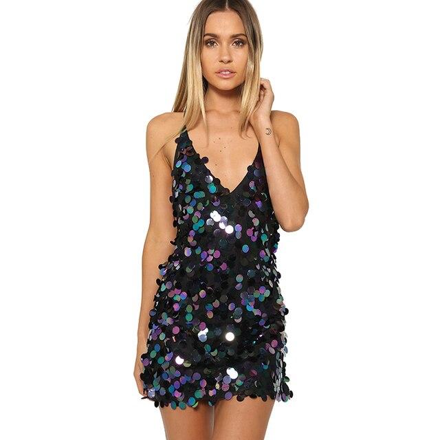 Smoves backless v neck sparkle halter shinny mujeres disco lentejuelas slip dress a-line del partido de tarde dress summer beach vestido de tirantes nuevo