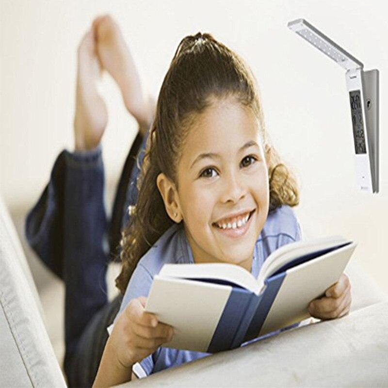 Lumiparty dimmable защитить зрение исследование Складная Чтение Настольная лампа Light Touch Управление Календари будильник Температура