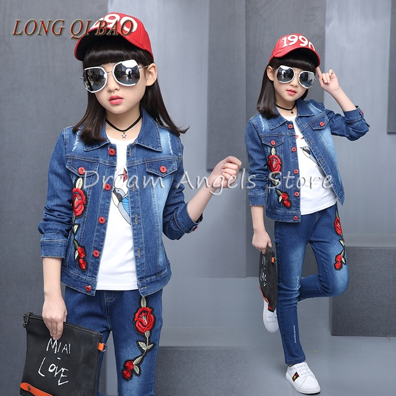 New age season girl leisure embroidery denim three-piece suit a three dimensional embroidery of flowers trees and fruits chinese embroidery handmade art design book