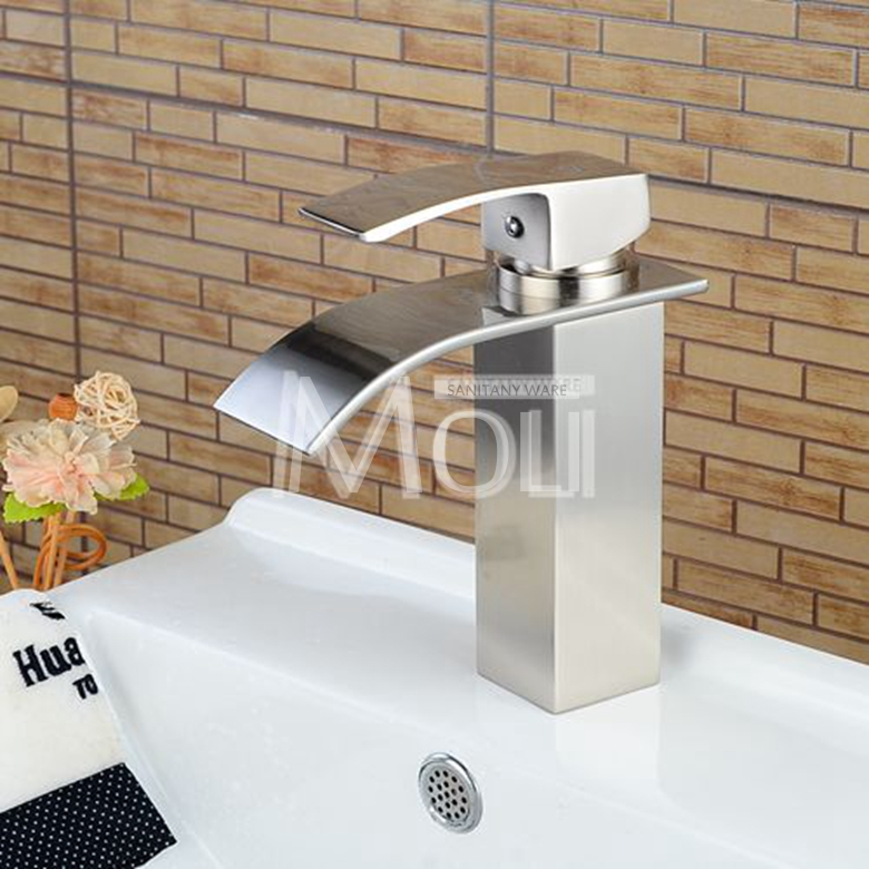Vessel sink faucets chrome finish waterfall taps bathroom basin ...