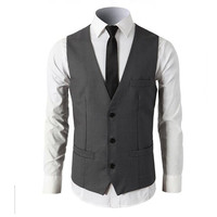 Traje ma3 jia3 hombre gris chaleco nuevo estilo formal trabajo negocio chaleco guapo novio por encargo del padrino vestido chaleco