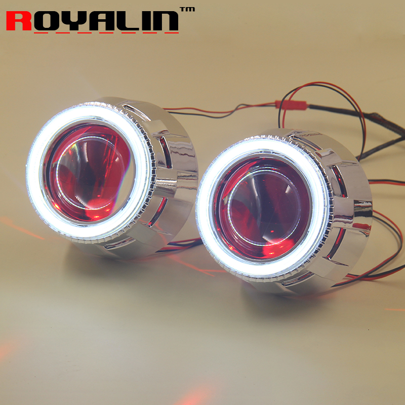 ROYALIN Projector Lens Headlights Angel Eye Devil Eyes White Bule Red Green for HID Xenon Bulbs H1 H4 H7 Car Styling Retrofits