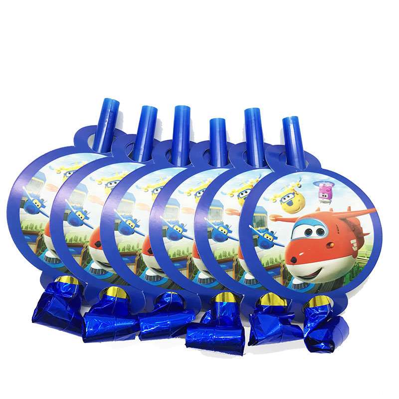 6pcs/pack party noise makers Super Wings blowouts boy Super Wings theme birthday party decorations Super Wings theme noise maker(China)
