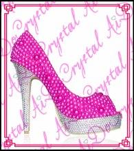 Aidocrystal summer lovely girls fuchsia peep toe wedding evening high heel platform shoes