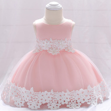 Retail Appliques Floral Little Baby Prom Wedding Dress Cute Lower Layer Baby Princess Birthday Party Dress L1850XZ
