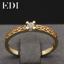 EDI Jewelry Solid 18K Yellow Gold Ring 0.1 Carat Solitaire Natural Diamond  Engagement Ring For Women With Band Best Xmas Gift