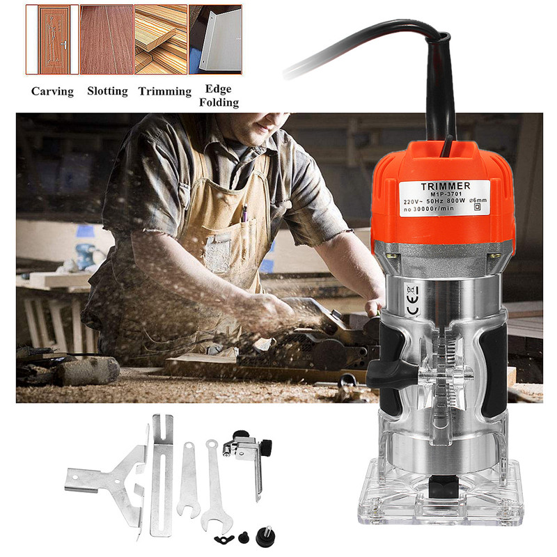 Wood Electric Hand Trimmer 220V 800w 30000r/min Collet 6.35mm AU Plug Corded Wood Laminator Router Joiners Aluminum Power ToolsWood Electric Hand Trimmer 220V 800w 30000r/min Collet 6.35mm AU Plug Corded Wood Laminator Router Joiners Aluminum Power Tools