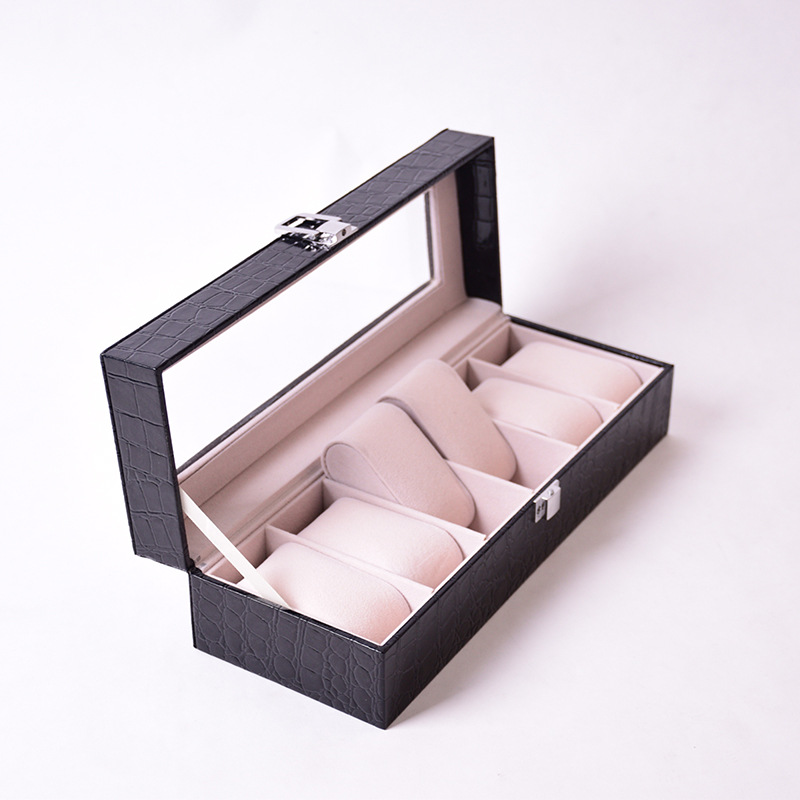 6 Grid Slots Jewelry organizer Watches Boxes Display Storage Box Case Leather Square jewelry free shipping digita 200 000 lux tester meter 4 range lcd digital light meter luxmeter tester luminometer photometer