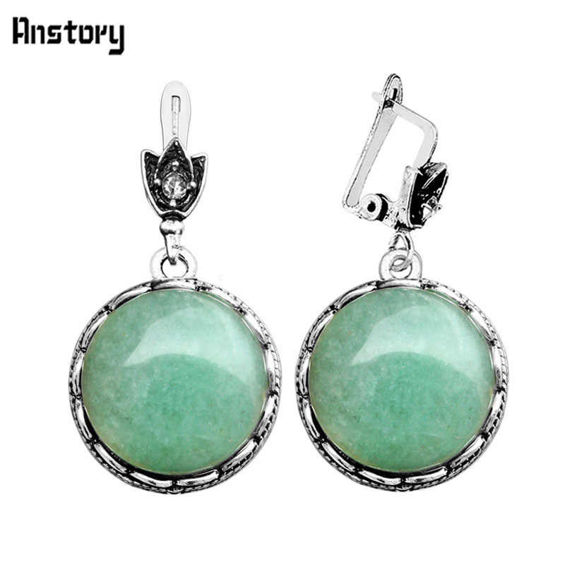 Round Natural Jades Earrings For Women Vintage Antique Silver Plated Party Hollow Flower Pendant Fashion Jewelry TE263