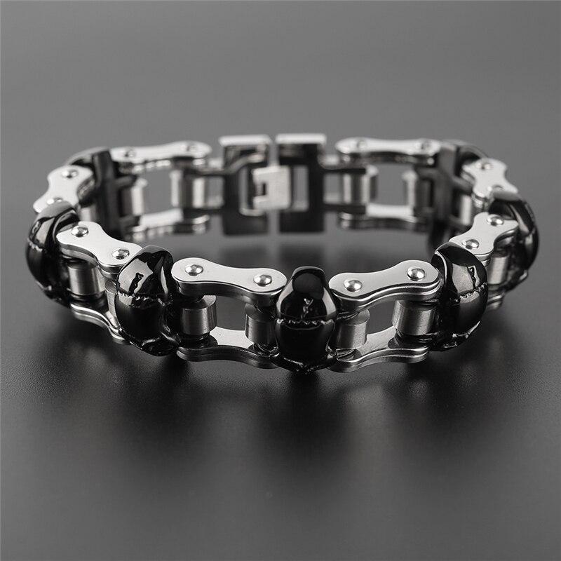 YISUYA Luxury Skull Bracelets Men Link Chain 316L Stainless Steel Biker Charm Bracelets Punk Male Jewelry Hip Pop Father Gift punk link chain mens womens bracelets chains fashion jewelry charm bracelets wristband bracelets