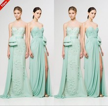 Empire Floor-Length Chiffon Sleeveless Strapless A-Line Off the Shoulder 2019 bridesmaid dresses Mint Green Pink Promotion sale