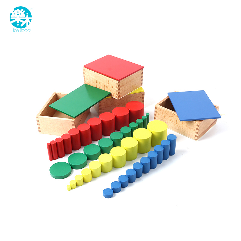 Montessori jouets éducatifs en bois pour enfants cylindre sans noeuds Montessori 4 ensembles de 10 cylindres grand cadeau pour les enfants