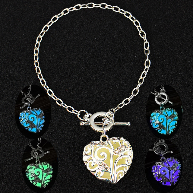Glow In The Dark Bracelets For Women Hollow Life Tree Heart Charm Glowing Stone Jewelry