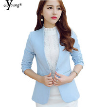 2016 Solid Blazer Women Blazer Feminino Chaquetas Mujer Women Suits V-Neck Collar Blue Green Plus Size S – XL YMW-1136