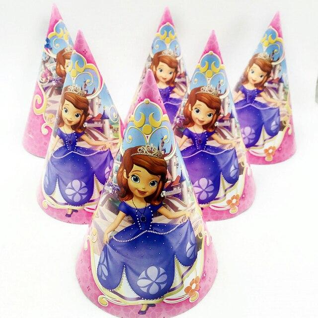 6pcs Princess Sofia Birthday Hats Party Decorations Ideas Baby